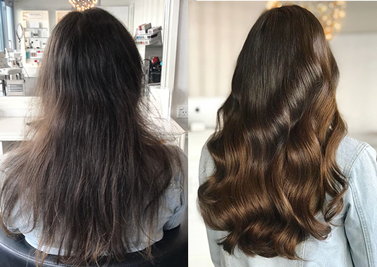 clip hair extensions image - before & afters