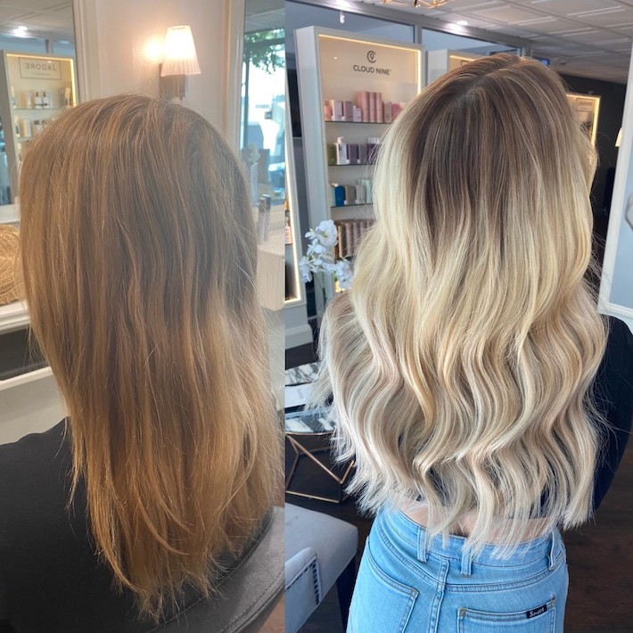 invisible tape hair extensions - before and after - brisbane salon